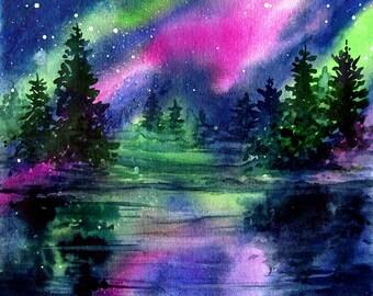Northern Lights Painting Magenta Green over Lake Original Watercolor Art by AllKindsofArt artist Glenda Mullins