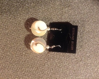 nautilus shell earrings with pearls