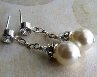 Wedding Pearl Earrings, Swarovski Pearls, Sterling Silver, White Ivory Dangle, Rhinestone, Bridesmaid, Bridal Party, Handmade Jewelry
