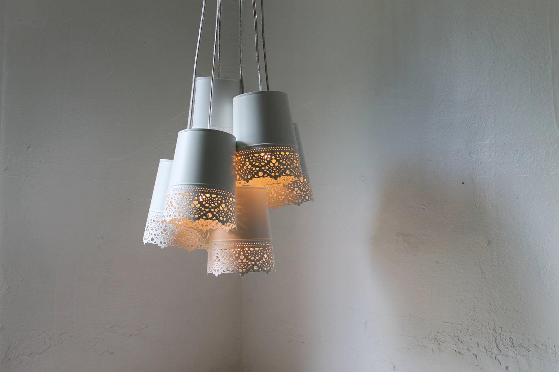 Lace chandelier lamp white metal lace pendants hanging zoom arubaitofo Choice Image