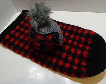 Newborn Plaid Cocoon and Hat Set