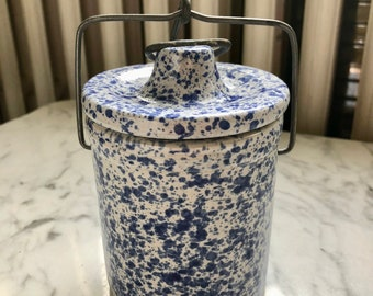 Vintage Blue Speckled Splatter Ceramic Pottery Cheese Crock Jar with Wire bail