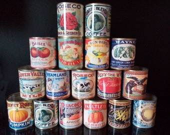 25 large replica vintage cans