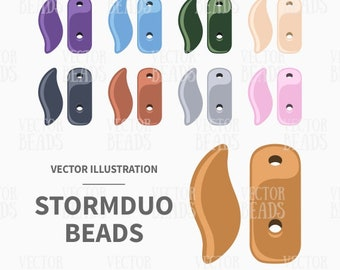 Vector Clipart Set of StormDuo 2-Hole Beads - Instant Download