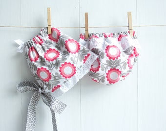 Funky Flowers Bonnet Set-Baby Girl Bonnet Set-Ruffled Bonnet and Bloomers-Ruffled Diaper-Pink/Coral/Gray-Floral Baby Bonnet Set