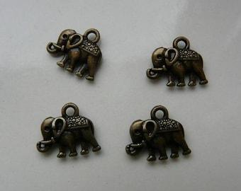x 2 bronze elephant charm