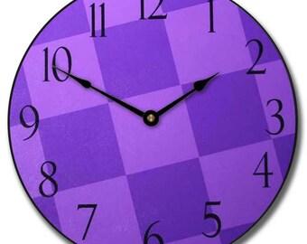 Purple Check Wall Clock