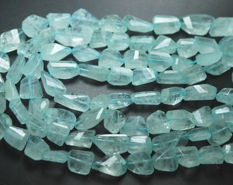 14 Inches Strand,Finest Quality Natural Aquamarine Faceted Nuggets,14-16mm Large