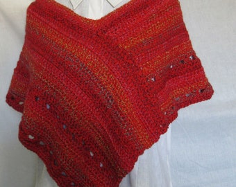 Womans Red Poncho Short Shoulder Wrap Handmade Crochet knit Summer Sweater Cover Mini Shawl Wrap Unique Birthday Gift Mans Emo Boho Cosplay
