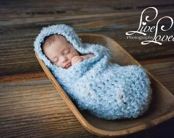 Download PDF crochet pattern s004 - Newborn Hooded Cocoon