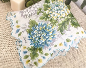 Something Blue Hanky, Scalloped Wedding Handkerchief, Colette, Vintage, Blue Green Mums, Mother of the Bride, Bridesmaid, Bride, Farmhouse