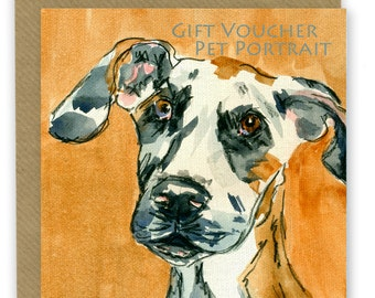 Pet Portrait, gift card Voucher, Last Minute Gift, Pet Memorial, Watercolour Portrait