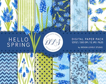 "Spring Digital Paper: ""Hello Spring"" Digital Floral Background Watercolor Muscari Floral Scrapbook Paper Digital Flowers Blue Green White"
