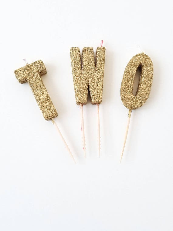 Sale GLITTER TWO CANDLES Gold Small Letter Candle Custom