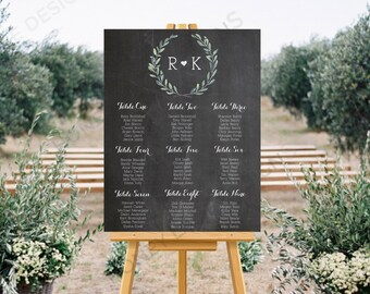 Personalised Printable, Wedding Seating Chart, Wedding Table Plan - Blue Floral Chalkboard Collection - WCC71