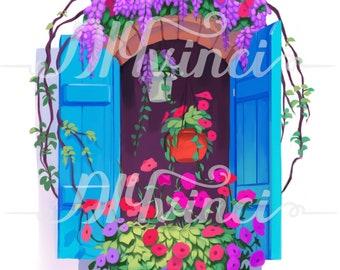 Greek Window Floral Digital Painting Print 11 x 14