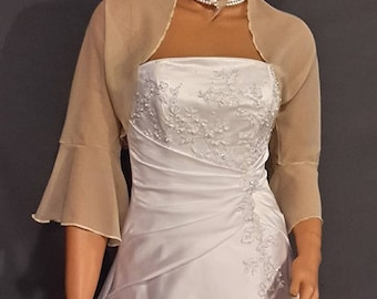 Chiffon bolero jacket 3/4 bell sleeve shrug wedding wrap bridal cover up CBA216 AVL IN champagne and 6 other colors. Small - Plus size!