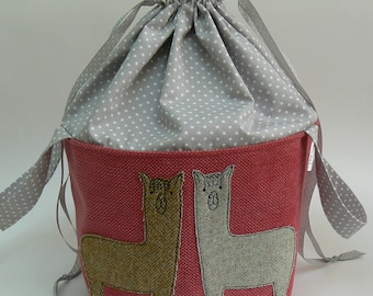 Tweedy Alpacas applique large drawstring project bag, large knitting bag