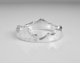 Mountain Stacker Ring, Mountain Ring, Recycled Silver recycled Gold Stacking Ring, Mountain Band, Mountain Wedding Ring