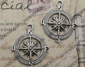 10 pcs Antique silver  charming The compass rudder  Pendant ,pendant findings 25x28mm