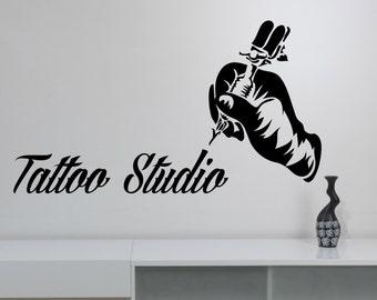 Tattoo Studio Logo Vinyl Sticker Tattoo Machine Wall Decal Window Art Decorations Tattoo Salon Room Decor tast5