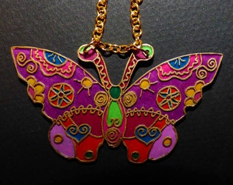 shrink plastic stained glass Butterfly pendant necklace
