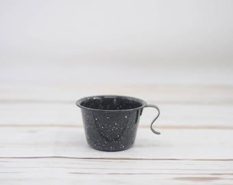 Vintage Black and White Enamelware Cup Mug Granite Ware Cowboy Coffee Cup