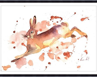 ORIGINAL Watercolor Painting,Rabbit Painting,Original animal watercolor painting