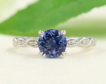Genuine Tanzanite Engagement Ring.Diamond Engagement Ring.7mm Round Tanzanite Ring.High Quality Diamond Engagement Ring.Wedding Ring