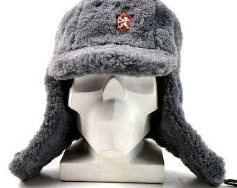 Genuine Czech army winter hat Ushanka grey fur extremely warm hat