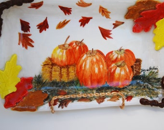 """Serving Tray Harvest Painting, Pumpkins On Tray, Serving Pottery Tray, Handmade, Hand Painted 8"""" x 6"""" Ceramic Tray,"""