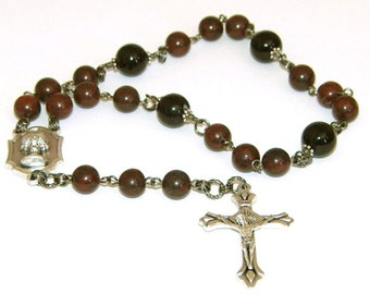 Man or Boy's First Holy Communion Chaplet, Traditional Layout, Jasper Gemstone Beads