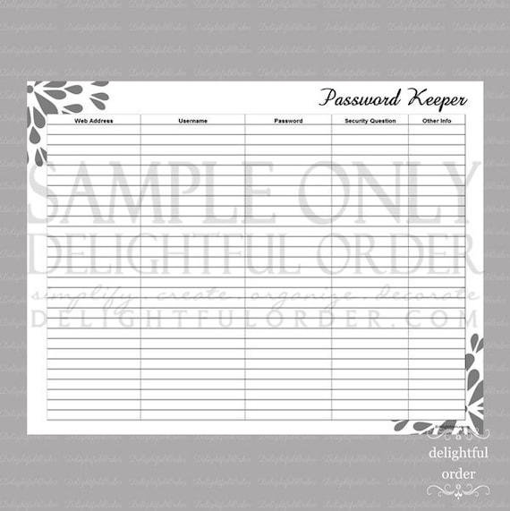 password keeper pdf printable file instant digital