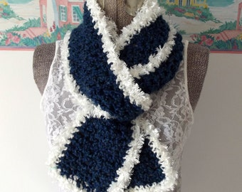 Soft Crochet Scarf, Navy Blue, White, Furry Trim, Thick and Cozy Wrap