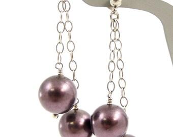 Big Purple Pearls Statement Earrings, Elegant Sterling Silver Long Dangles