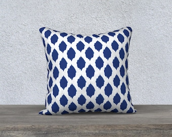 Ikat Pillow Cover - Modern Ikat Cushion Cover - Modern Decor - Blue Pillow Cover -18x18 or 20x14 - Decorative Pillow