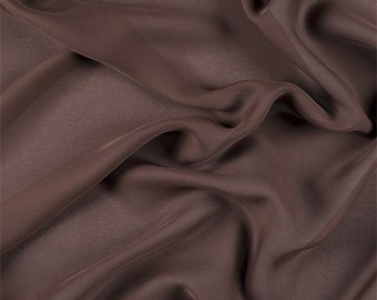 Dark Brown Silk Double Georgette, Fabric By The Yard
