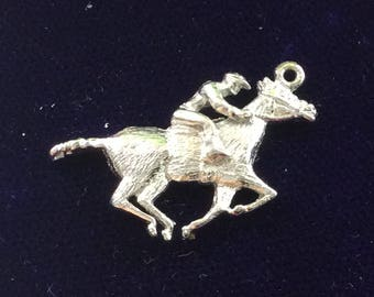 Sterling silver race horse with jockey  charm vintage # 116s