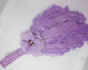 purple feather headband