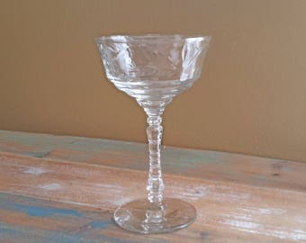 Champagne Tall Sherbet Glass Normandy Rock Sharpe Libbey  Vintage