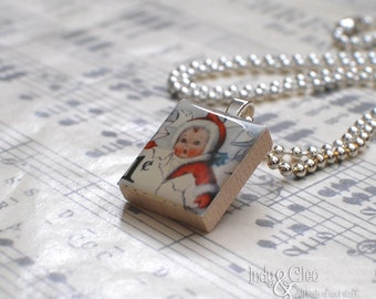 Kewpie Face Scrabble Necklace, Kewpie Handmade Scrabble Art Pendant, Wood Tile Pendant, Kewpie Postage Stamp Art, Vintage Look, Tiny Jewelry