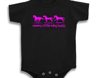 Mommy's Little Riding Buddy Horse Baby T Shirt One Piece Creeper onesie Infant Just Ride Pony