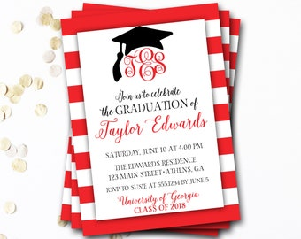 Monogram Graduation Invitation, Red Graduation Invitation, Red and White Graduation, Class of 2017, Monogram Invitation, DIY Printable
