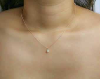 White Opal Pendant Necklace, Solid 14K Gold, October Birthstone, Dainty Thin Micro Curb or Cable Chain
