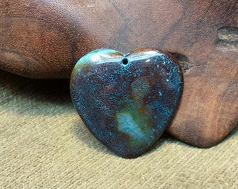 Sale #EarthDay ~ Dark Stormy Dragon Vein Agate Druzy Heart