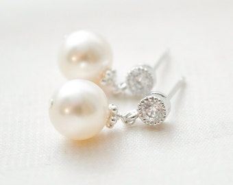 Pearl Earrings Wedding, Pearl Drop Earrings, Ivory Pearl Bridal Earrings, Bridal Jewellery