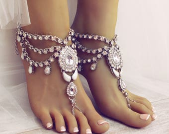 Bali Silver Barefoot Sandals Rhinestone Jewelry Beach Wedding Anklet Boho Bride Barefoot Bride Destination Wedding Sandals Foot Thong
