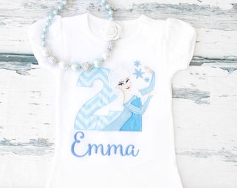Frozen Baby Girl Second Birthday Elsa Themed Shirt Girl Elsa birthday TShirt Customized Elsa Frozen Birthday Shirt Frozen Bubblegum Necklace