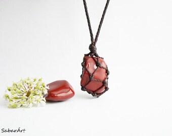 Red jasper necklace, red jasper pendant, red jasper jewelry, Jasper pendant, terracotta red, jasper necklace, mans pendant, mens necklace