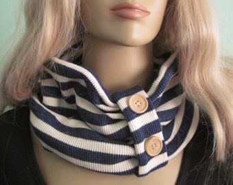 Navy White Stripe Sweater Knit Loop Circle  Scarf Womens Fall Winter Accessory